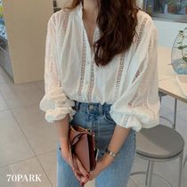 Casual Style Medium Lace Puff Sleeves Shirts & Blouses