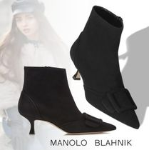 Manolo Blahnik Suede Street Style Leather Party Style Elegant Style