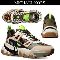 Michael Kors Leopard Patterns Street Style Leather Sneakers