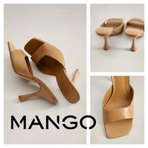 MANGO Open Toe Rubber Sole Casual Style Leather Pin Heels
