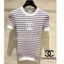 CHANEL Crew Neck Stripes Blended Fabrics Street Style Short Sleeves