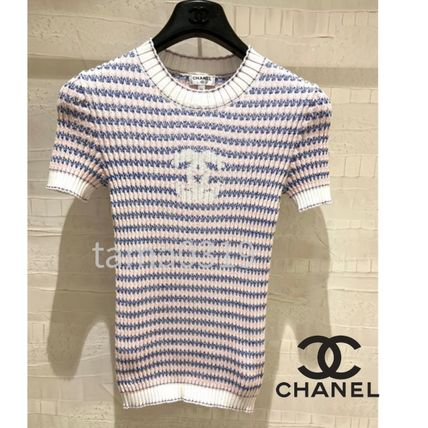 CHANEL T-Shirts Crew Neck Stripes Blended Fabrics Street Style Short Sleeves