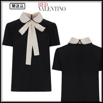 RED VALENTINO Silk Bi-color Short Sleeves Elegant Style Shirts & Blouses