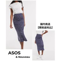 ASOS Pencil Skirts Flared Skirts Dots Casual Style Silk Peplum