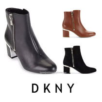DKNY Plain Toe Casual Style Suede Plain Block Heels Office Style