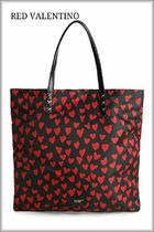 RED VALENTINO Heart Casual Style Blended Fabrics Studded Totes