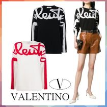 VALENTINO Crew Neck Casual Style Cashmere Rib Long Sleeves Long Logo