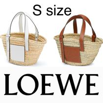 LOEWE Calfskin Plain Leather Logo Straw Bags