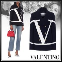 VALENTINO Casual Style Wool Medium Logo Front Button Outerwear