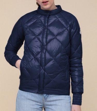 Short Nylon Street Style Plain Logo Down Jackets