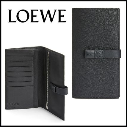LOEWE Calfskin Plain Folding Wallet Logo Long Wallets
