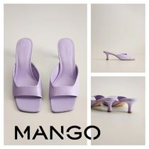 MANGO Open Toe Square Toe Rubber Sole Leather Pin Heels