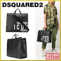 D SQUARED2 Casual Style Calfskin A4 2WAY Bi-color Plain Totes