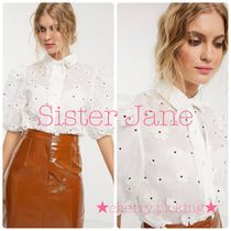 Sister Jane Casual Style Long Sleeves Plain Party Style Puff Sleeves