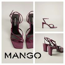 MANGO Square Toe Other Animal Patterns Heeled Sandals