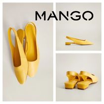 MANGO Round Toe Leather Flats
