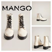 MANGO Lace-up Leather Lace-up Boots