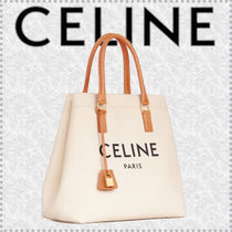 CELINE Horizontal Cabas Casual Style Unisex Calfskin Canvas Office Style