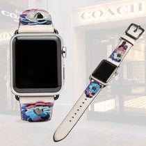 Coach Casual Style Studded Leather Office Style Apple Watch Belt