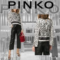 PINKO Leopard Patterns Casual Style Long Sleeves