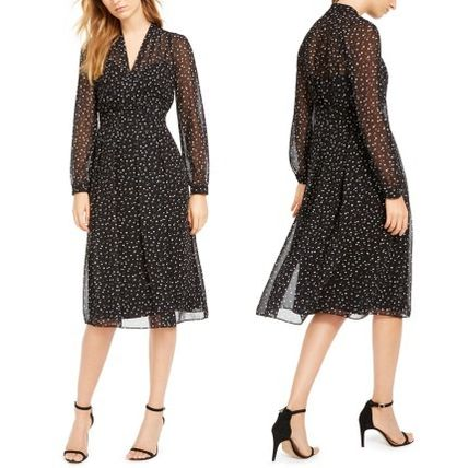 Dots A-line Flared V-Neck Long Sleeves Long Party Style Midi