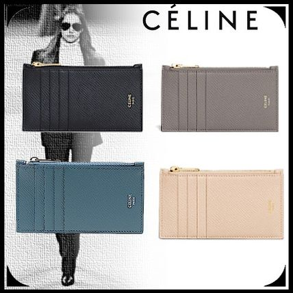 CELINE Zipped Compact Card Holder In Grained Calfskin