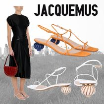 JACQUEMUS Open Toe Casual Style Plain Leather Party Style Office Style