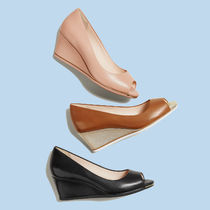 Cole Haan Open Toe Plain Leather Office Style Peep Toe Pumps & Mules