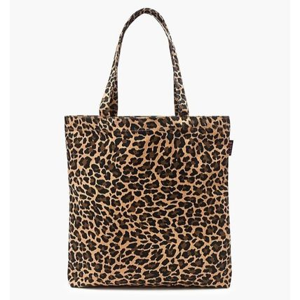 Leopard Patterns Casual Style Canvas A4 Elegant Style Totes