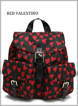 RED VALENTINO Heart Casual Style Blended Fabrics Studded Backpacks