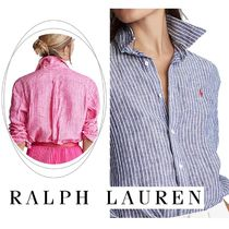 Ralph Lauren Stripes Casual Style Linen Long Sleeves Shirts & Blouses