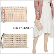 RED VALENTINO Casual Style Blended Fabrics Studded Leather Party Style