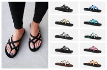 Teva Plain Toe Round Toe Rubber Sole Casual Style Blended Fabrics