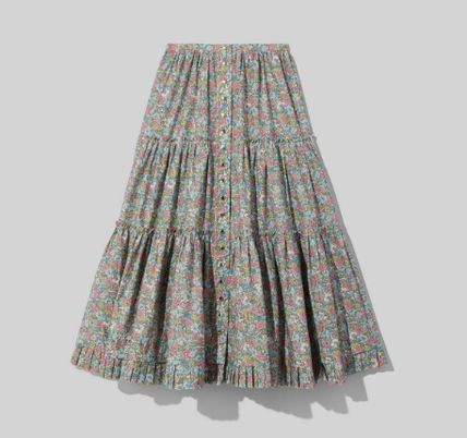 Flared Skirts Flower Patterns Casual Style Collaboration