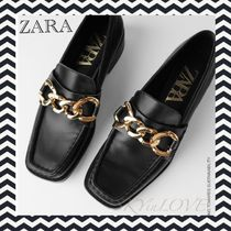 ZARA Casual Style Chain Leather Office Style Elegant Style