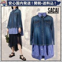 sacai Stripes Casual Style Denim Blended Fabrics Long Sleeves