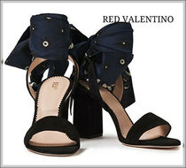 RED VALENTINO Open Toe Casual Style Suede Blended Fabrics Block Heels