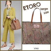ETRO Casual Style A4 Leather Logo Totes