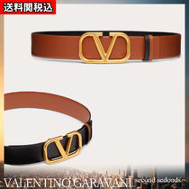 VALENTINO VLOGO Blended Fabrics Plain Leather Elegant Style Logo Belts