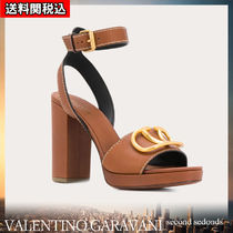 VALENTINO VLOGO Open Toe Platform Blended Fabrics Plain Leather Block Heels