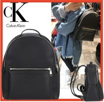 Calvin Klein Casual Style Unisex Street Style Leather Backpacks