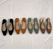 Gingham Square Toe Casual Style Suede Street Style Plain