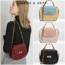 Charles&Keith Dots Faux Fur 2WAY Chain Plain Party Style Elegant Style