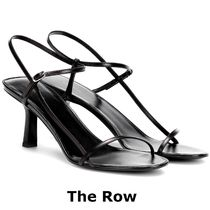 The Row Open Toe Blended Fabrics Plain Leather Party Style