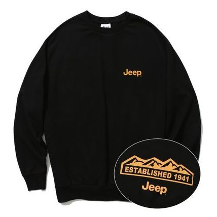 JEEP Sweatshirts Crew Neck Unisex Street Style Long Sleeves Plain Cotton Logo