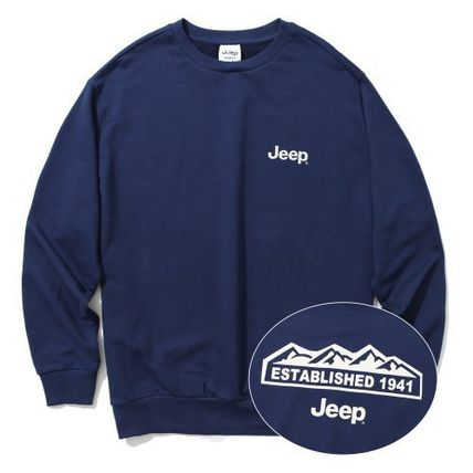 JEEP Sweatshirts Crew Neck Unisex Street Style Long Sleeves Plain Cotton Logo 2