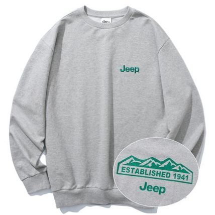 JEEP Sweatshirts Crew Neck Unisex Street Style Long Sleeves Plain Cotton Logo 3