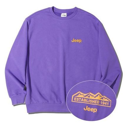 JEEP Sweatshirts Crew Neck Unisex Street Style Long Sleeves Plain Cotton Logo 4