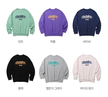 JEEP Sweatshirts Crew Neck Unisex Street Style Long Sleeves Plain Cotton Logo 7