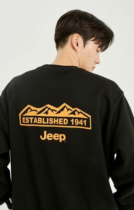 JEEP Sweatshirts Crew Neck Unisex Street Style Long Sleeves Plain Cotton Logo 12